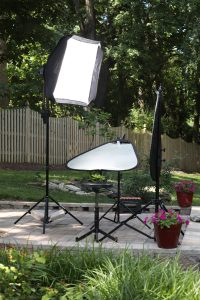 Outdoor Head Shot studio lighting set up  that comply with social distancing guidelines